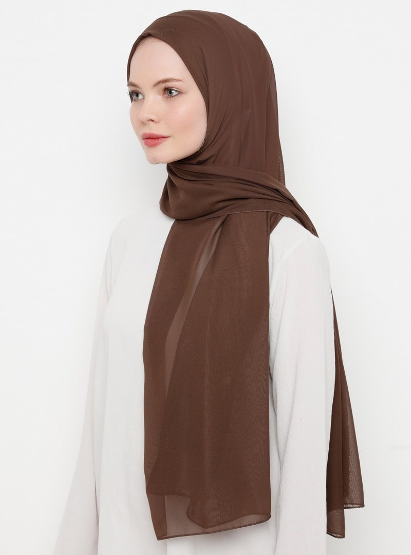 Tachnisa Açık Kahverengi Mina Şifon Şal