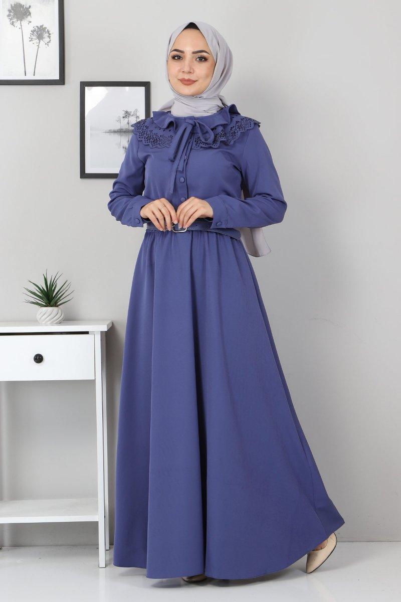 MISSVALLE İndigo Yakası Lazer Detay Elbise