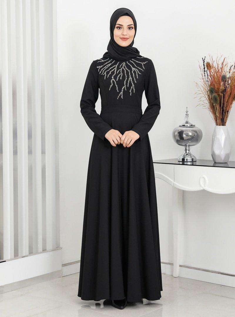 Surikka Siyah Hilal Abiye Elbise