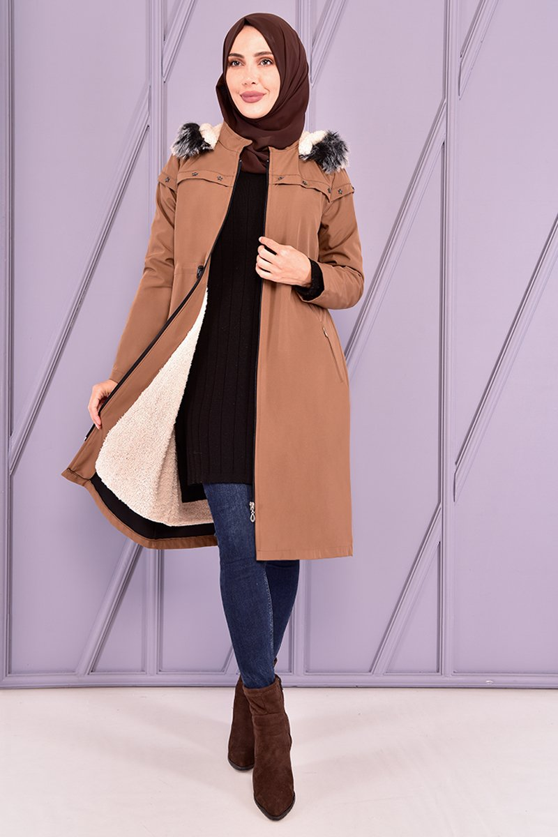 Moda Merve Kahverengi Kapüşonlu Kaban