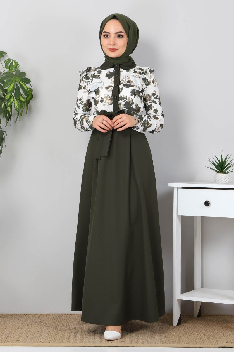 MISSVALLE Haki Fırfırlı Çiçekli Elbise
