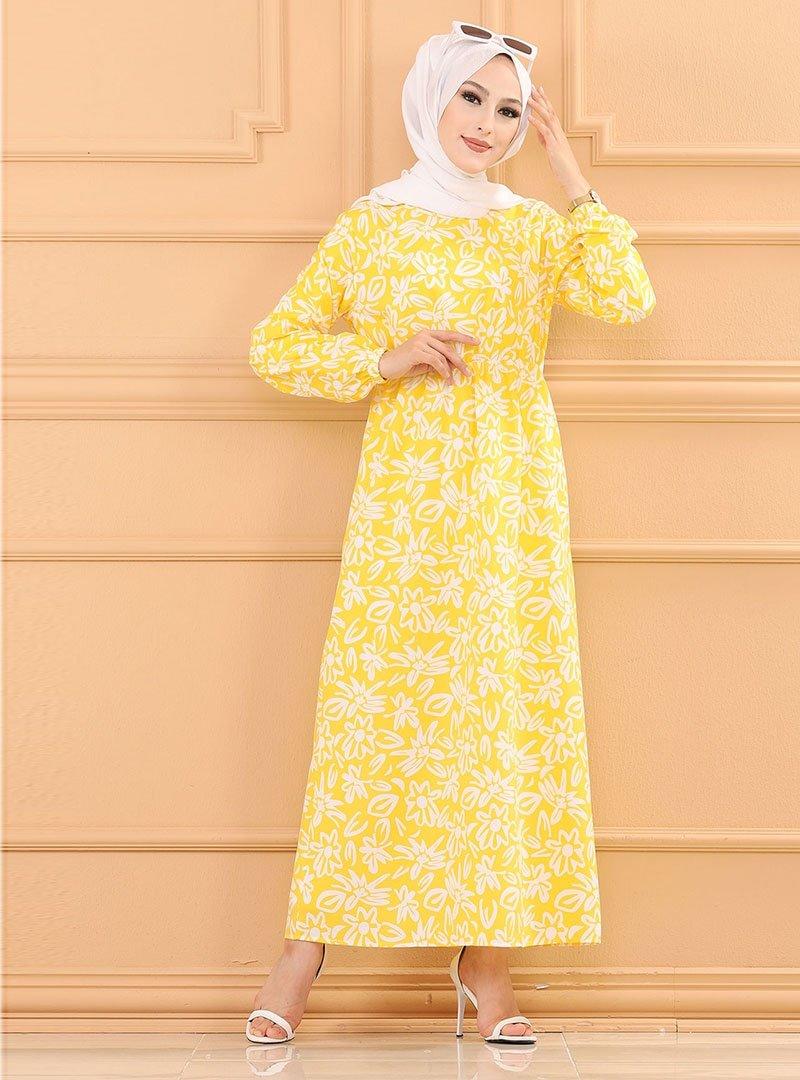 Tofisa Sarı Desenli Elbise