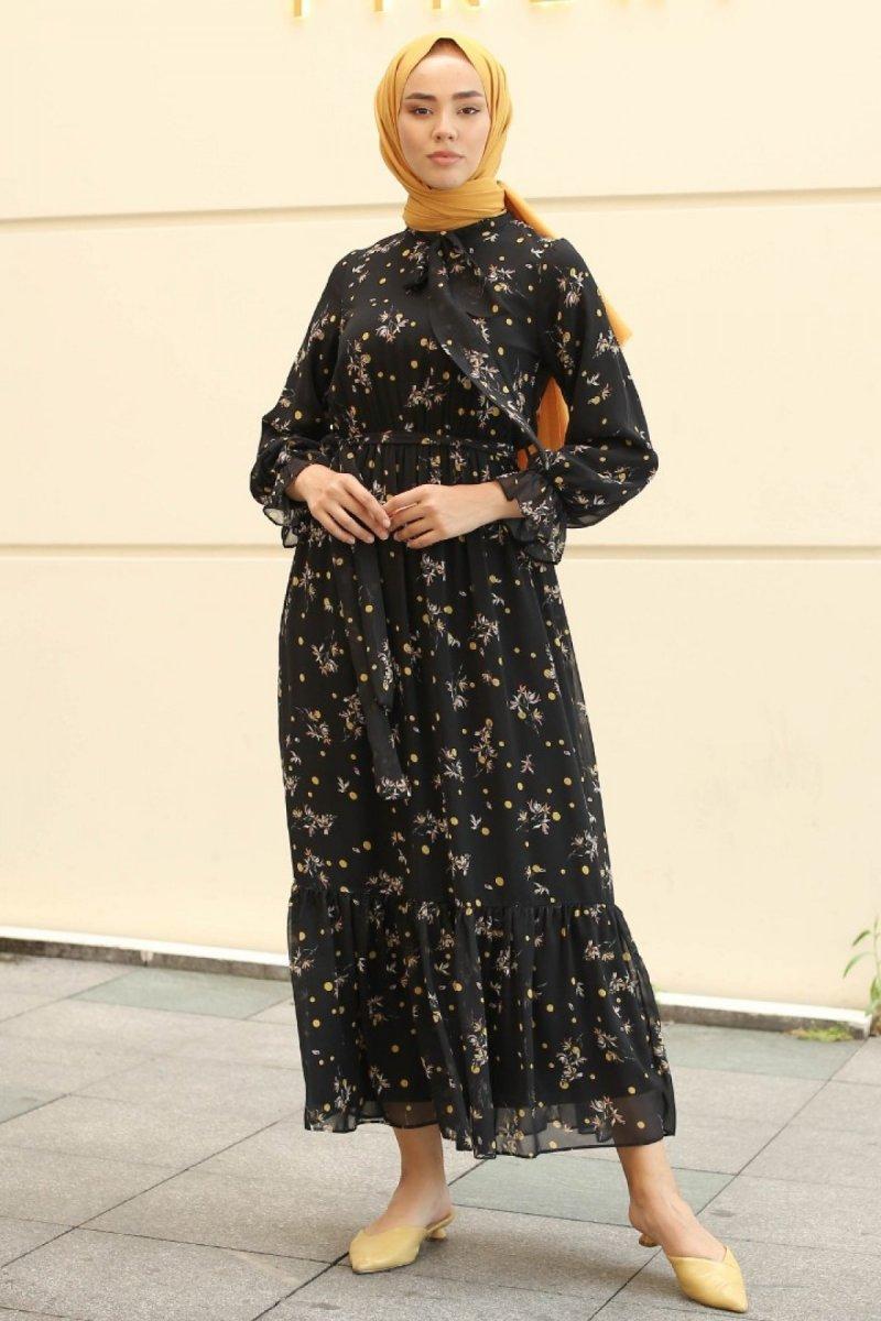 GİZCE Siyah Eldora Elbise