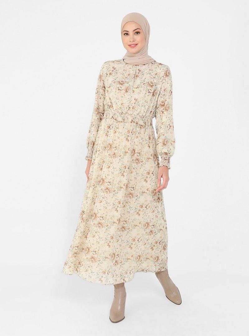 Refka Natural Çiçekli Kol Ucu Ve Beli Gipe Detaylı Şifon Elbise