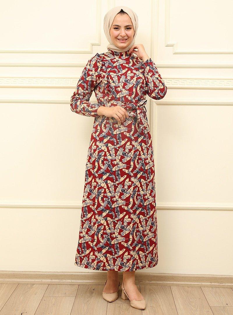 Moda Dua Bordo Fırfır Desenli Elbise