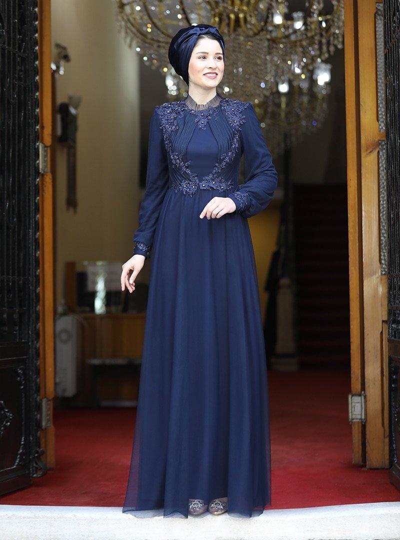 Burak Baran Fashion Lacivert Su Abiye Elbise