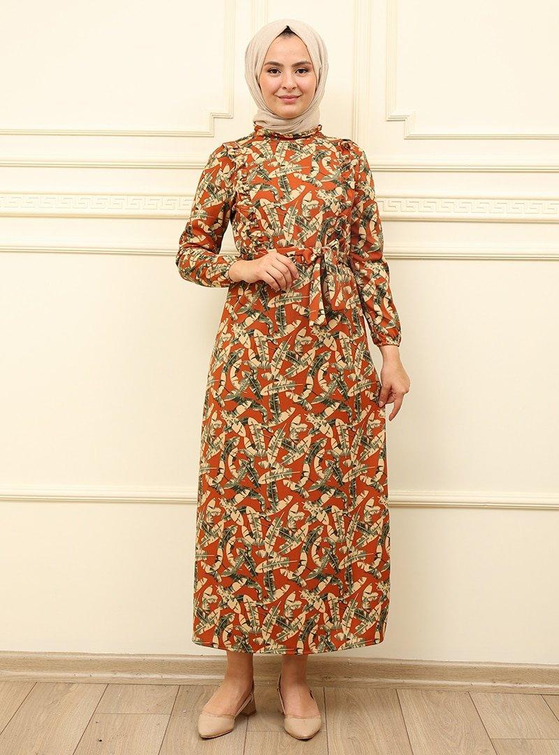 Moda Dua Kiremit Fırfır Desenli Elbise