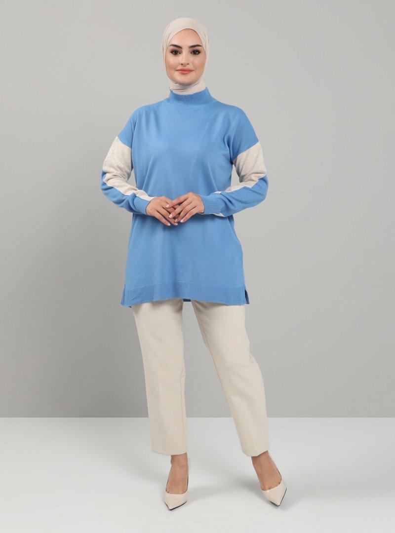Tavin Mavi Bej Kolu Renk Detaylı Boğazlı Triko Tunik