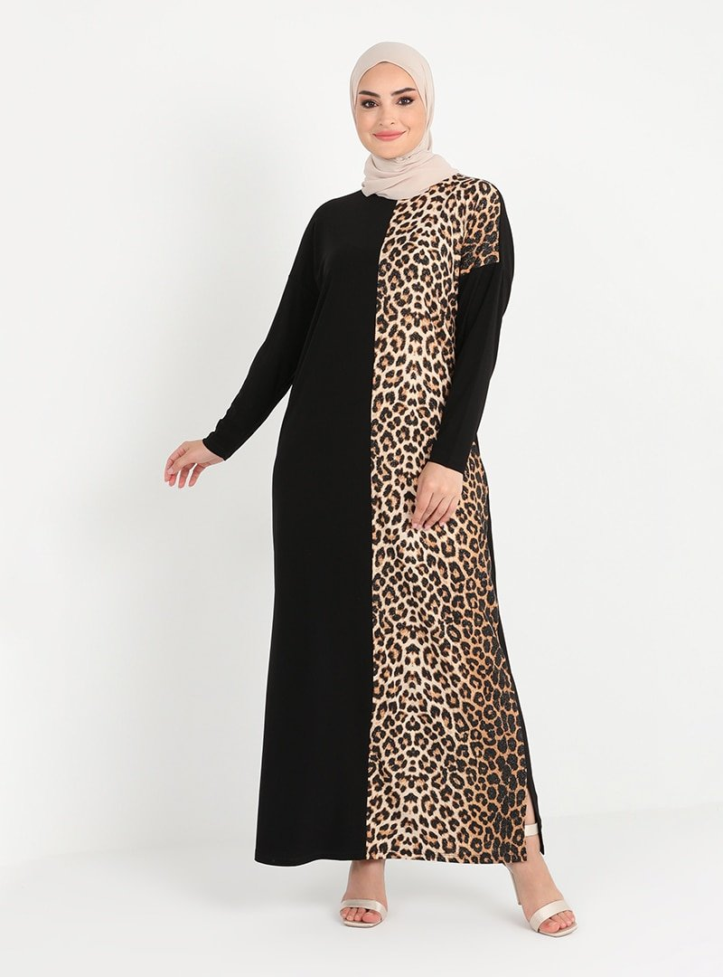 Tavin Siyah Gold Leopar Desenli Elbise
