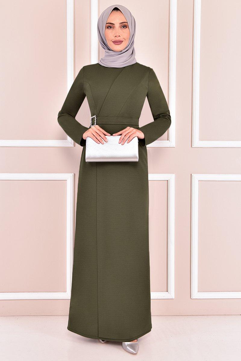 Moda Merve Haki Tokalı Abiye Elbise