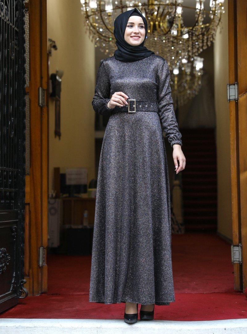Amine Hüma Siyah Zümrüt Abiye Elbise
