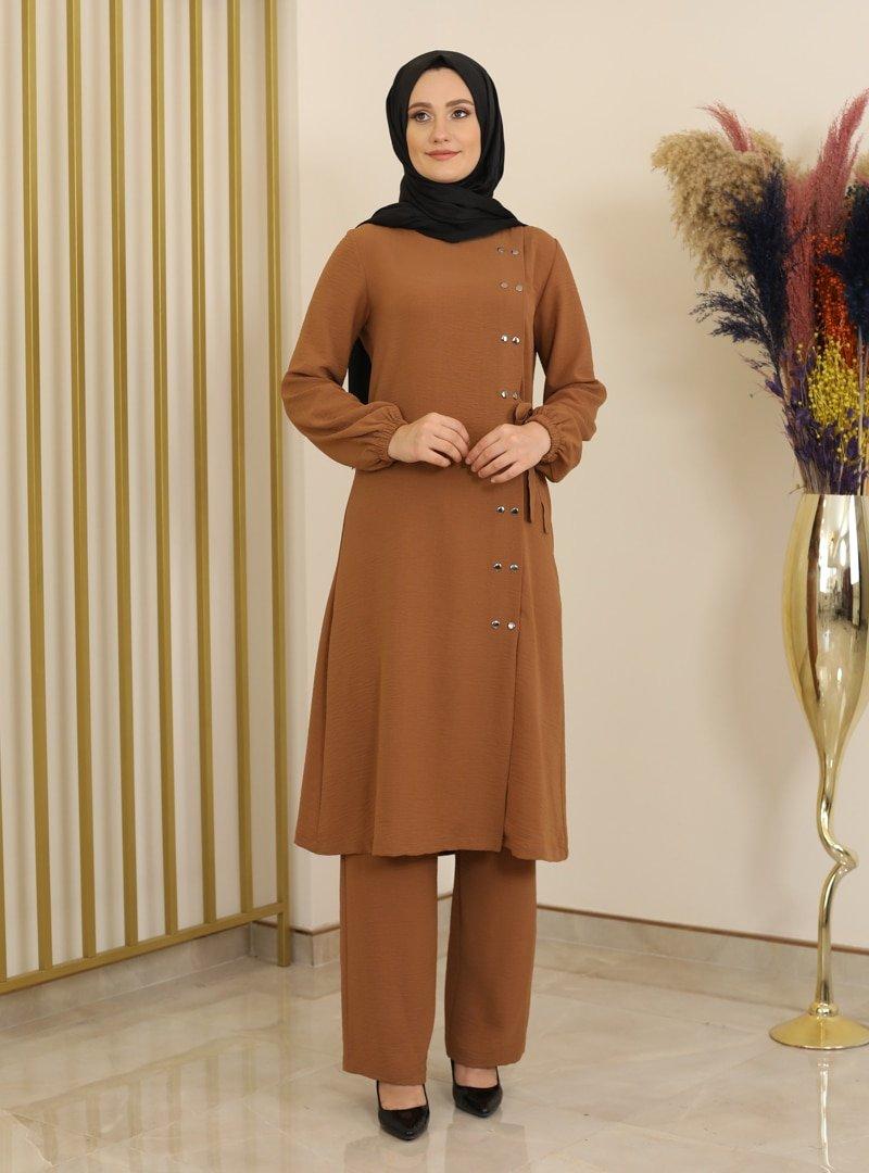 Fashion Showcase Design Taba Çıtçıt Detaylı Tunik & Pantolon İkili Takım