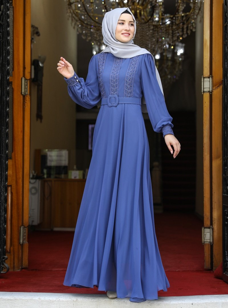 Amine Hüma İndigo Efsun Abiye Elbise