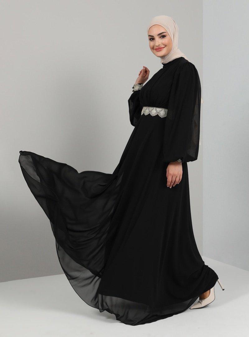 Tavin Siyah Bel Ve Kol Ucu Dantel Detaylı Abiye Elbise