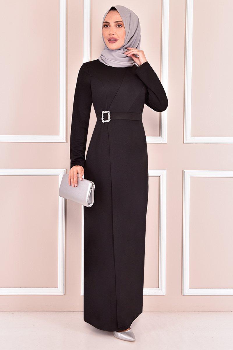 Moda Merve Siyah Tokalı Abiye Elbise