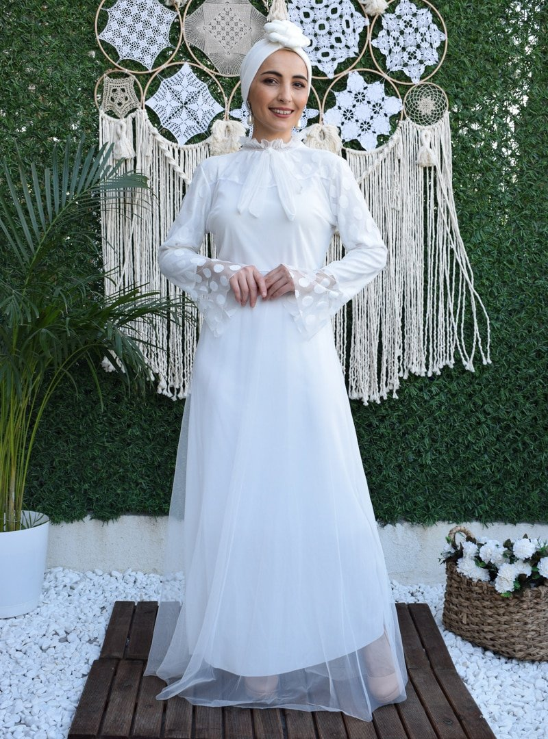 MAS&DESİGN Ekru Yakası Fırfırlı Bağcıklı Kloş Abiye Elbise