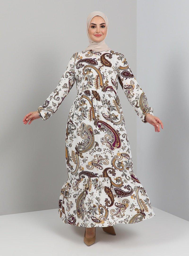 Tavin Mor Şal Desenli Doğal Kumaşlı Elbise