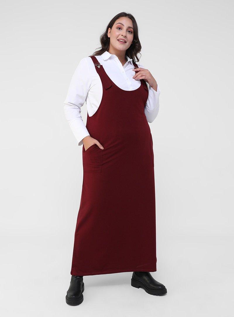 Alia Bordo Büyük Beden Askılı Spor Salopet Elbise
