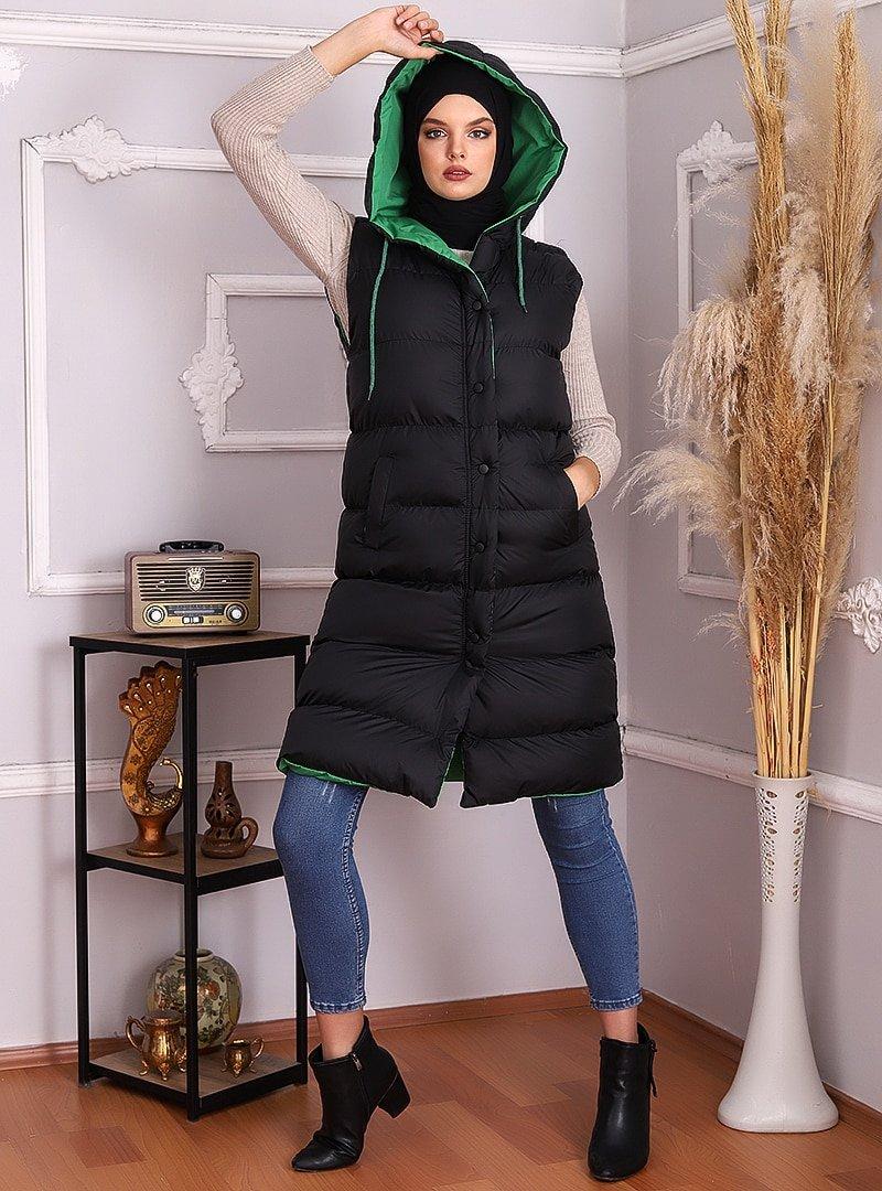 Muzze Yeşil Astarlı Siyah Şişme Yelek