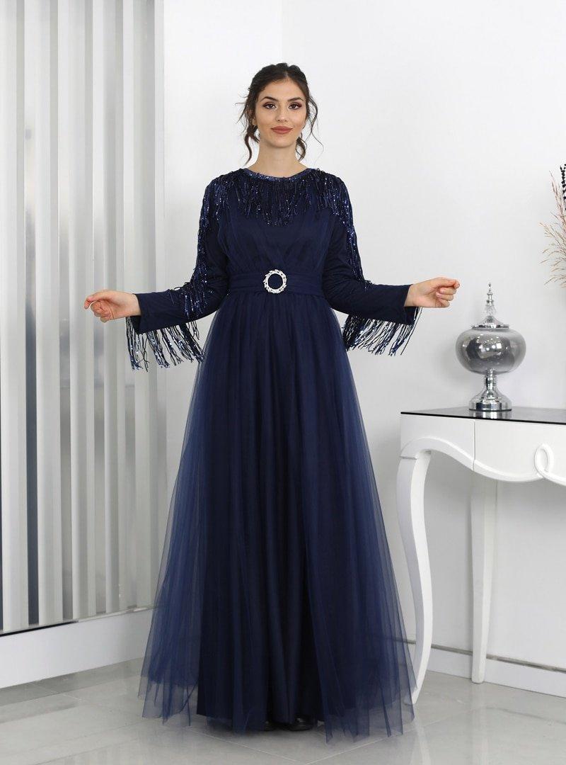 Surikka Lacivert Behrem Abiye Elbise