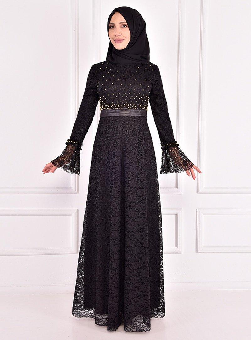 AYŞE MELEK TASARIM Siyah Boncuk İşlemeli Dantelli Abiye Elbise