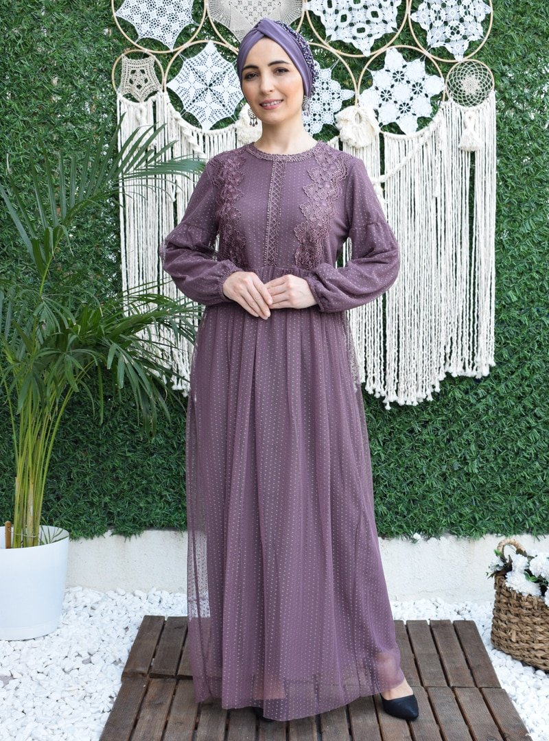 MAS&DESİGN Leylak Balon Kol Güpür İşlemeli Abiye Elbise