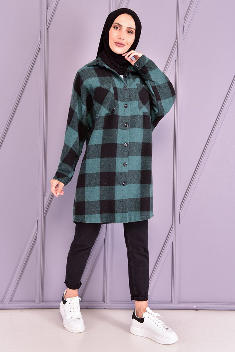 Moda Merve Zümrüt Oduncu Gömlek