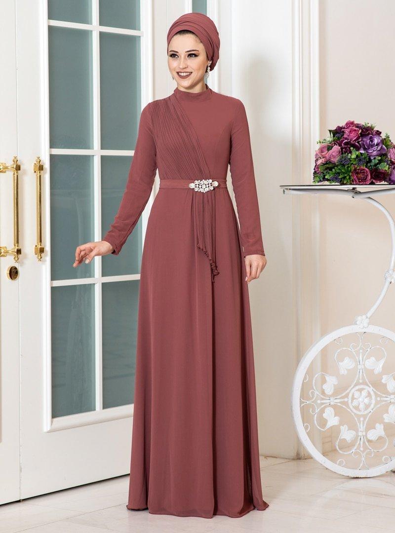 Aslan Polat Tarçın Ecmel Şifon Abiye Elbise