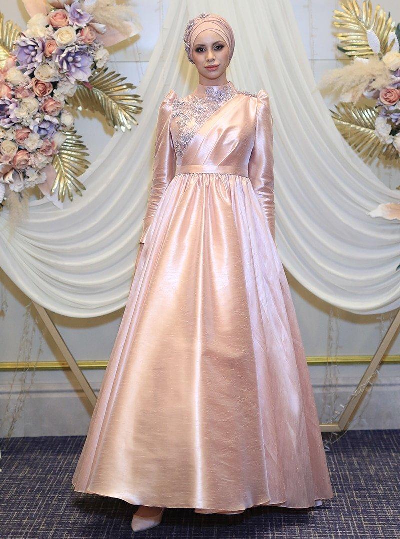 My Dreams Collection Pudra Şakayık Abiye Elbise