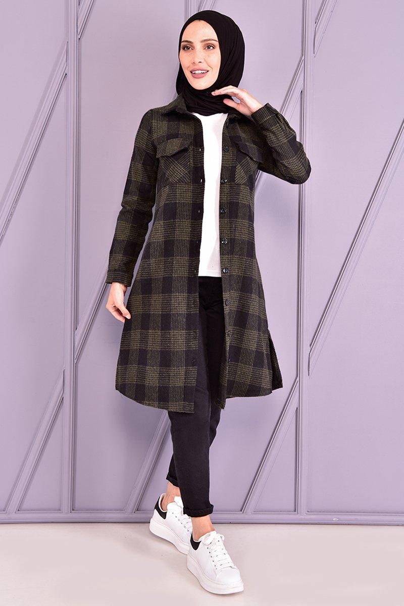 Moda Merve Haki Oduncu Gömlek