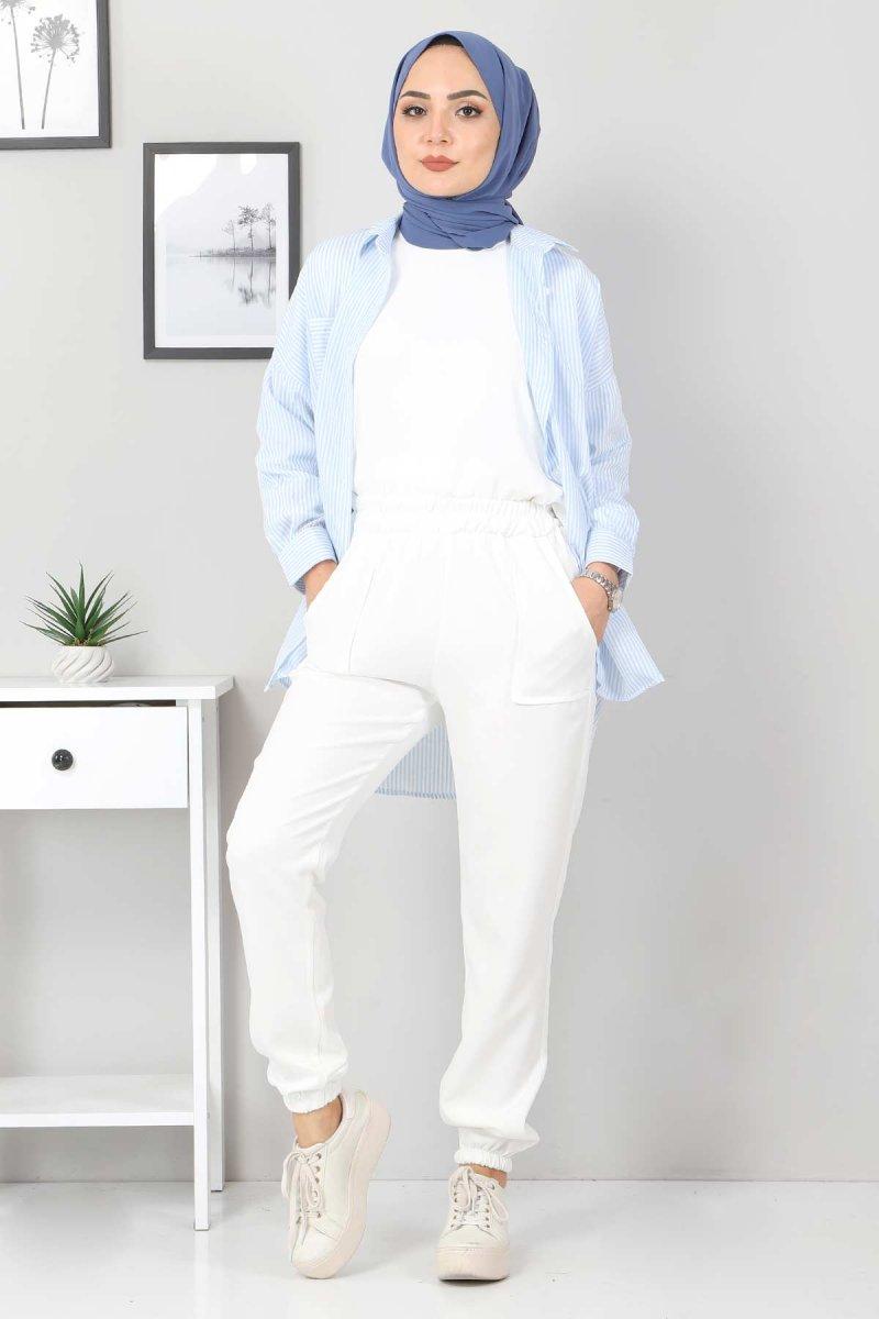 Tesettür Dünyası Ekru Paçası Lastikli Pantolon