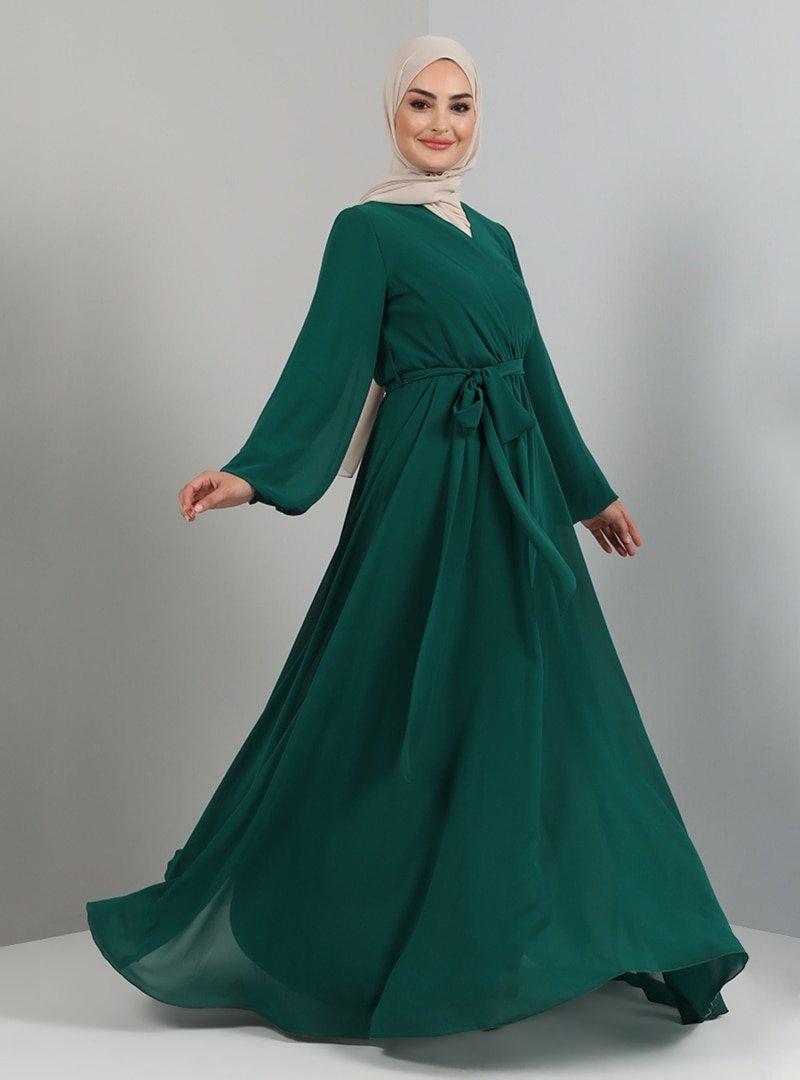 Tavin Zümrüt Yeşili Dantel Detaylı Abiye Elbise