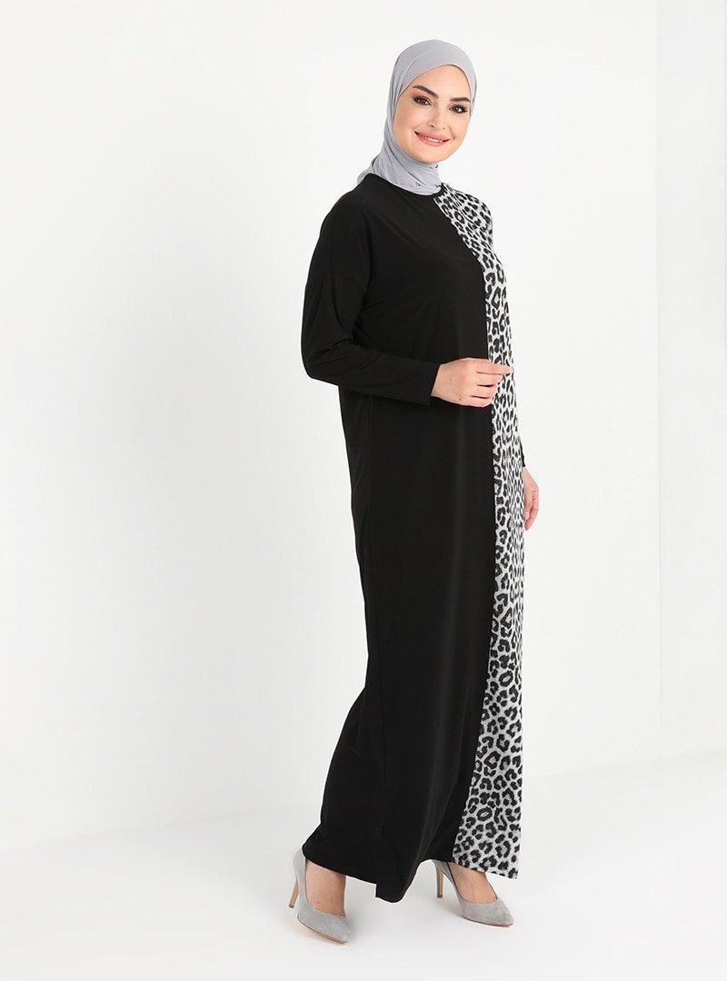 Tavin Siyah Gümüş Leopar Desenli Elbise