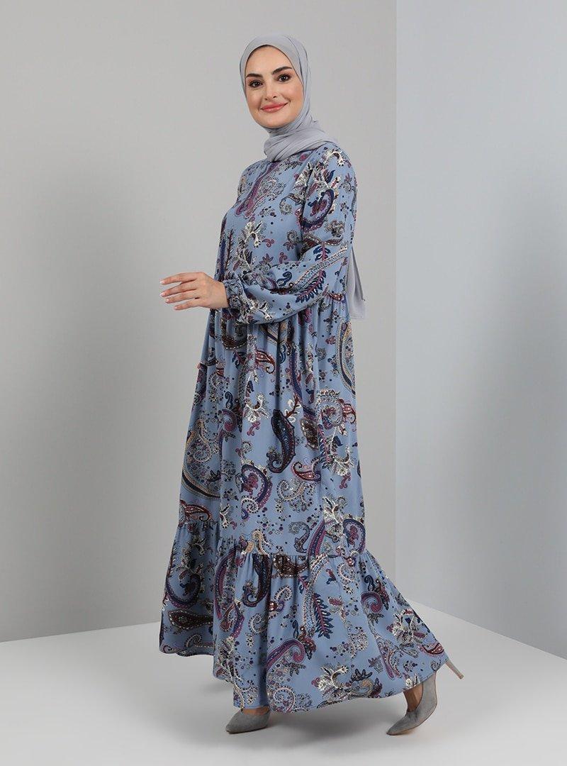 Tavin Mavi Şal Desenli Doğal Kumaşlı Elbise