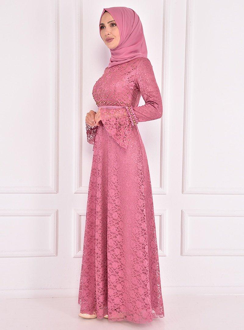 AYŞE MELEK TASARIM Gül Kurusu Boncuk İşlemeli Dantelli Abiye Elbise