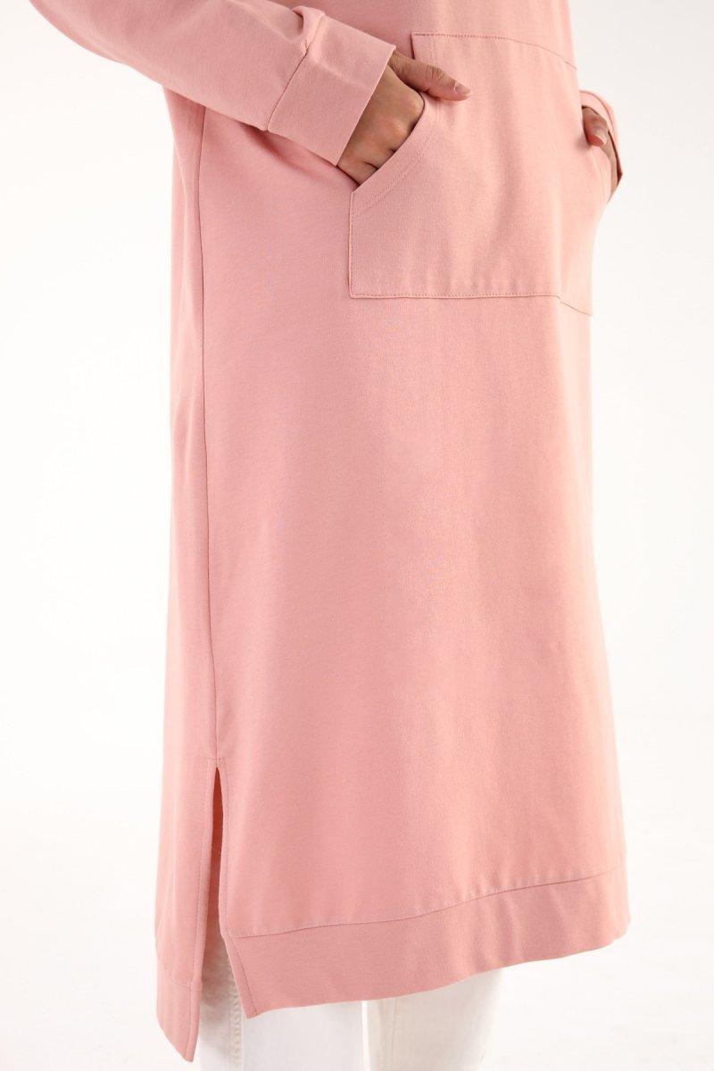 Allday Pudra Kanguru Cepli Yırtmaçlı Pamuklu Elbise Tunik