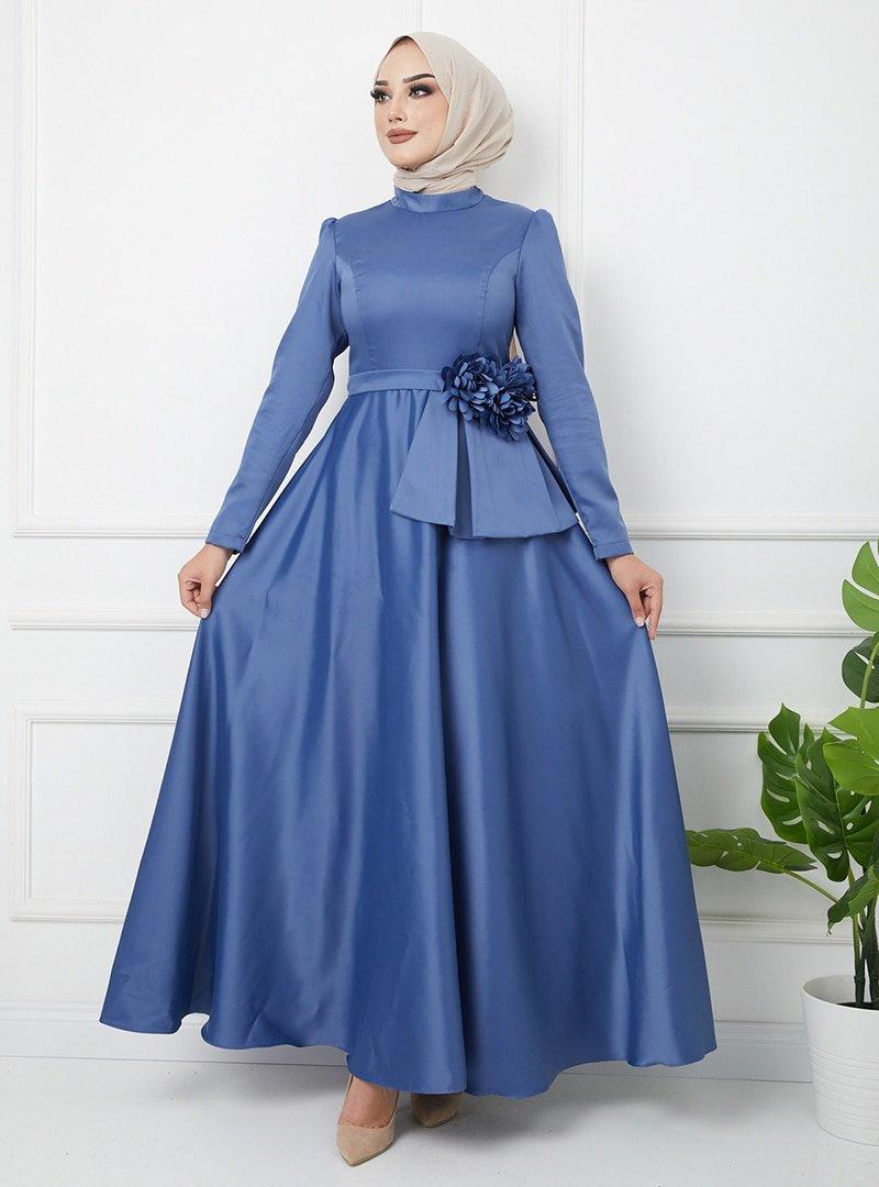 Olcay İndigo Çiçek Detaylı Beli Volanlı Saten Abiye Elbise