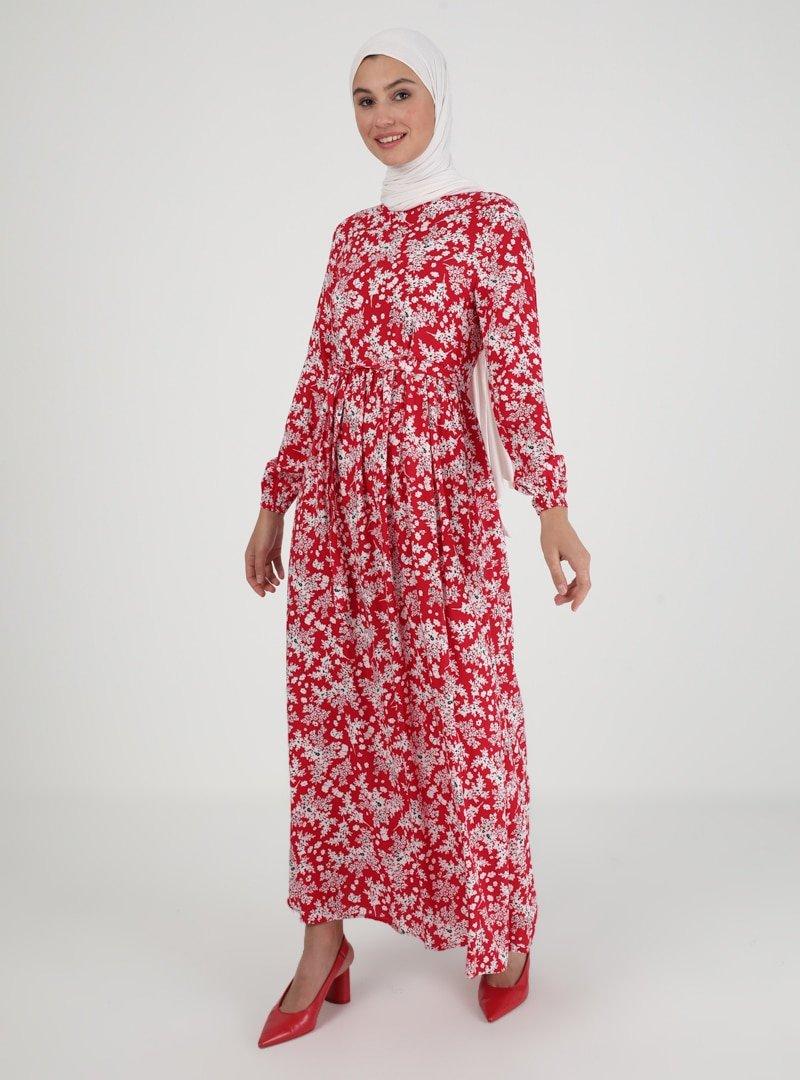 ECESUN Kırmızı Çiçek Desenli Elbise
