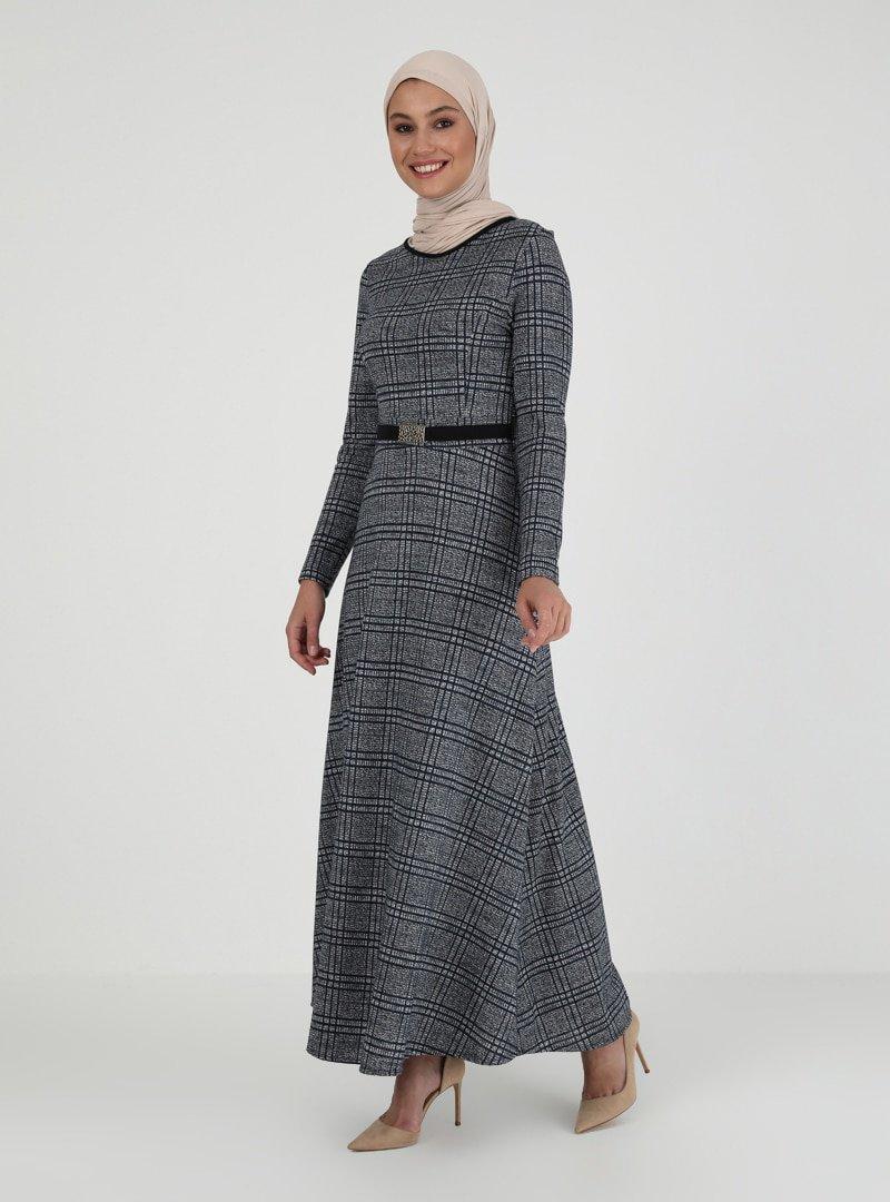 ZENANE Lacivert Desenli Elbise