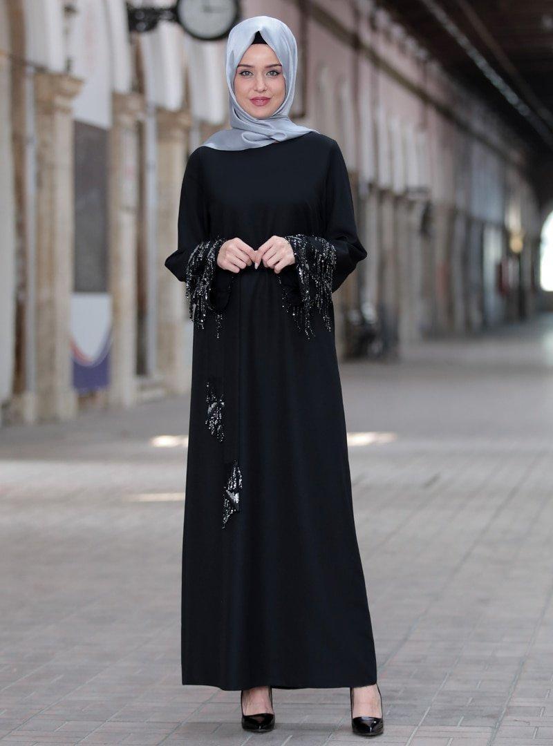 Emsale Siyah Duru Abiye Elbise