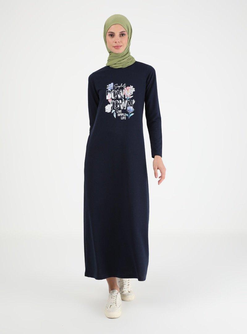 Muni Muni Lacivert Baskılı Elbise