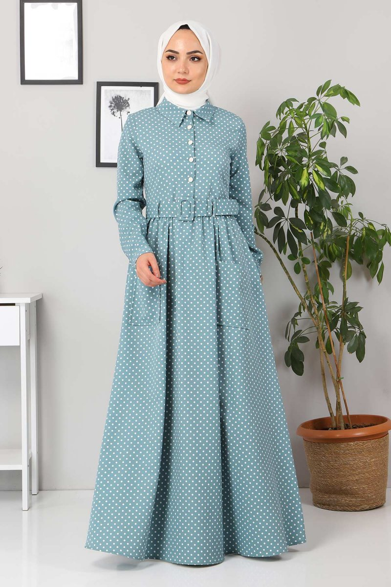 MISSVALLE Mint Kemer Detaylı Elbise