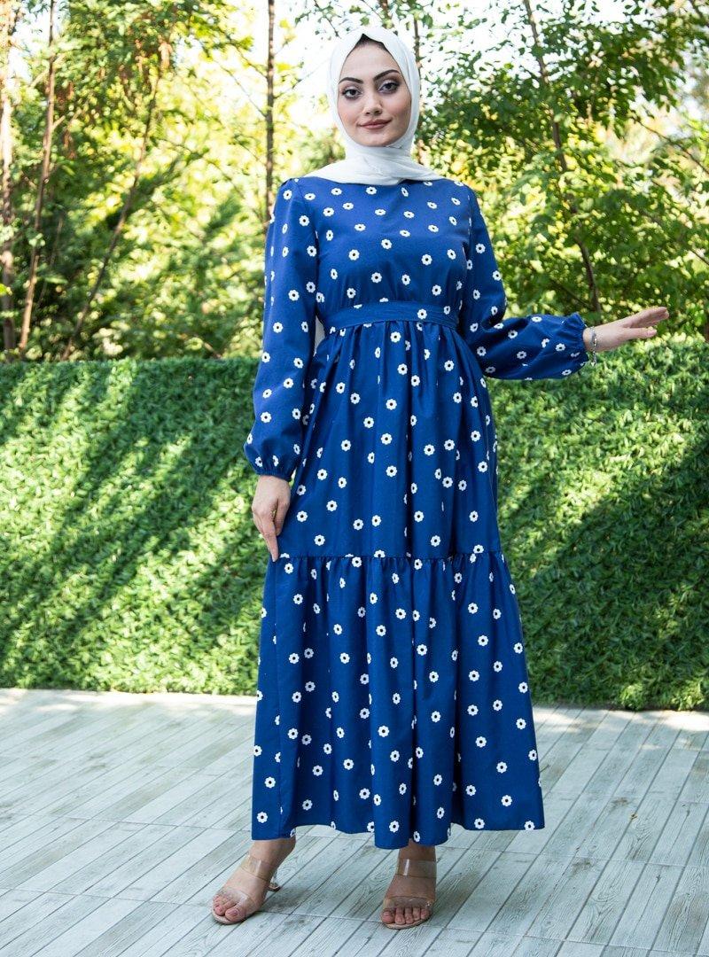 Sevit-Li Lacivert Çiçek Desenli Elbise