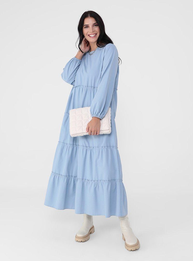 Alia Mavi Büyük Beden Pamuk Karışımlı Kol Uçları Lastikli Salaş Elbise