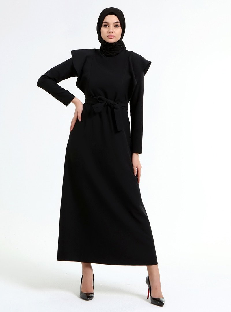Picolina Siyah Kol Detaylı Elbise