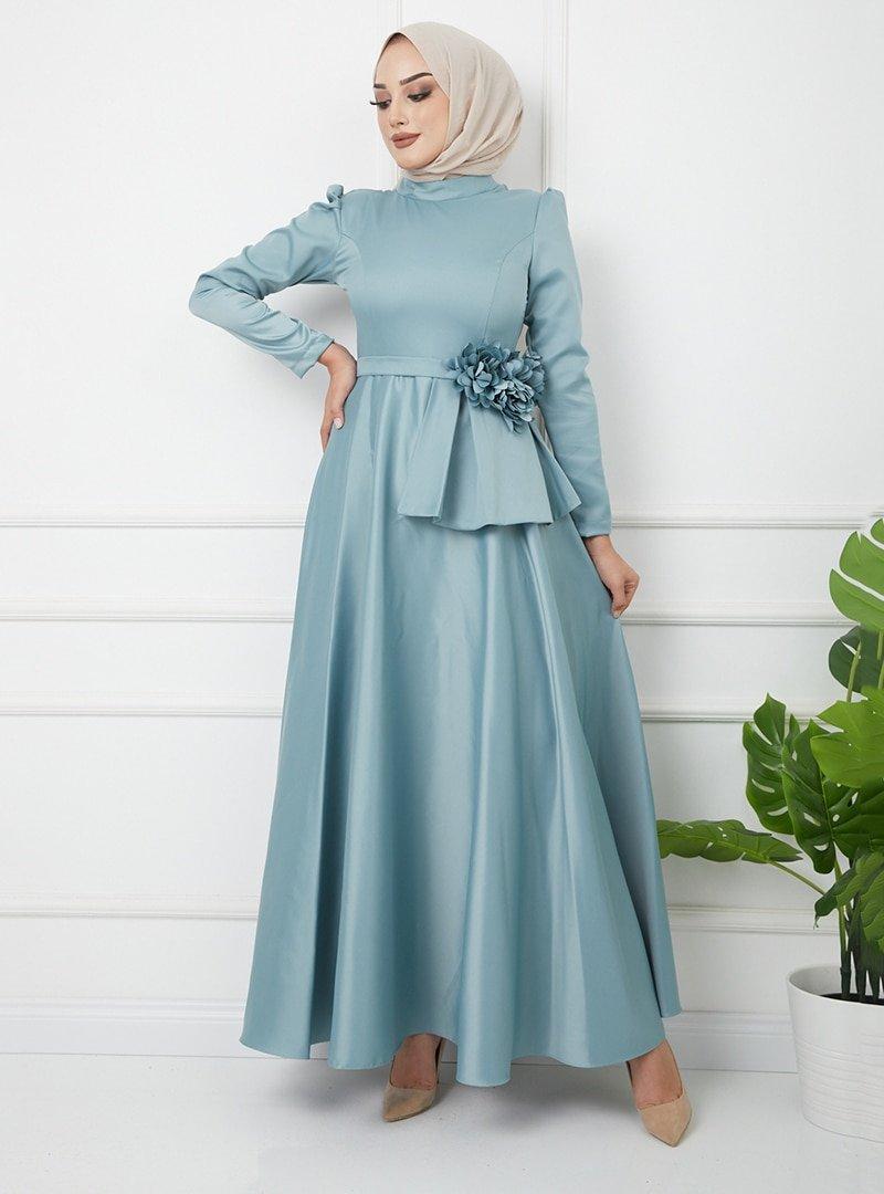 Olcay Mint Çiçek Detaylı Beli Volanlı Saten Abiye Elbise