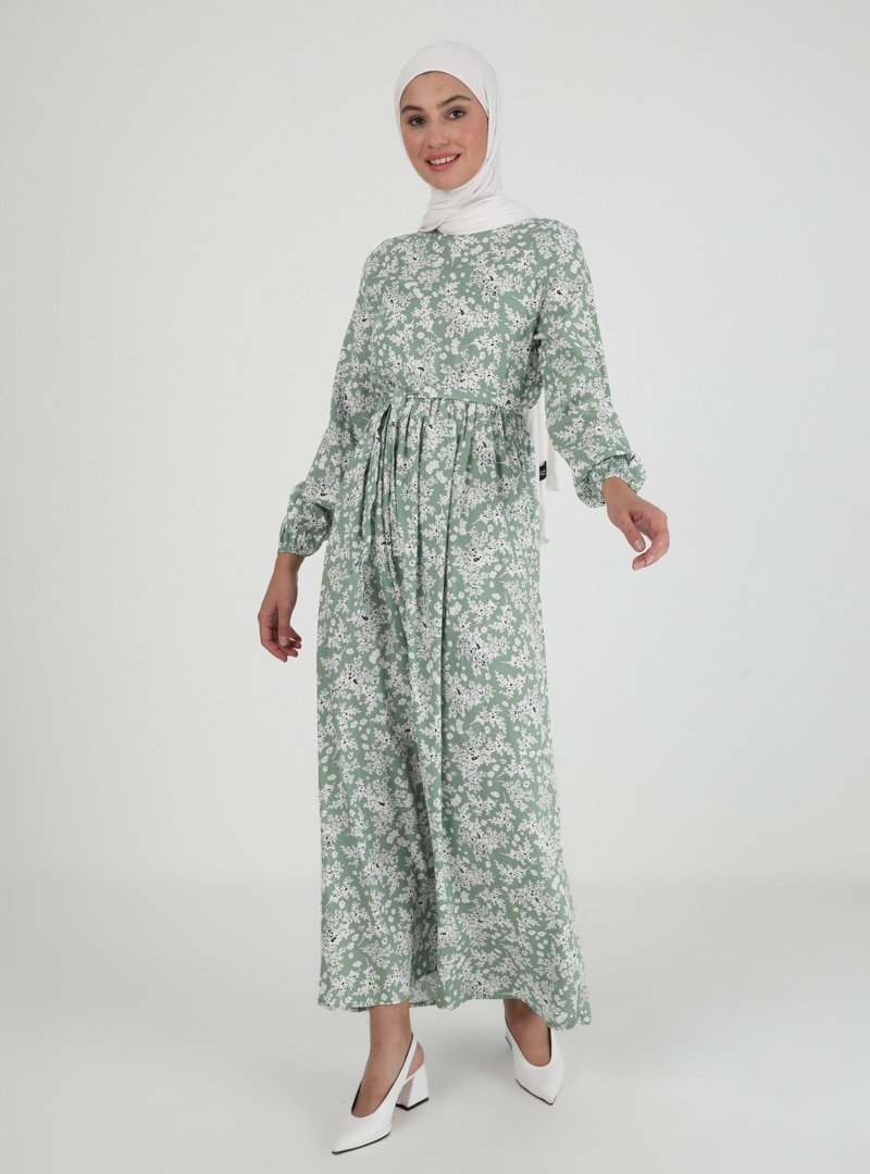 ECESUN Yeşil Çiçek Desenli Elbise