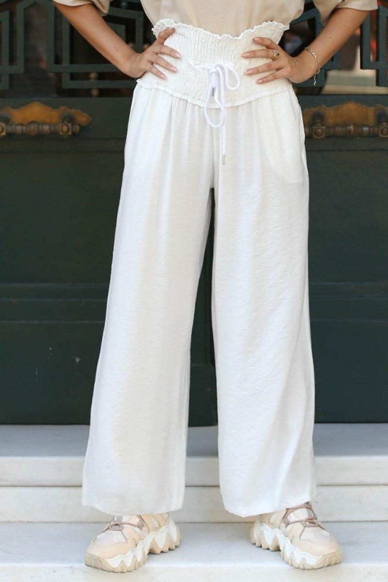 GİZCE Beyaz Lavern Pantolon
