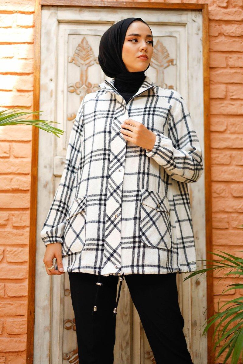In Style Ekru Antrasit Altı Büzgülü Ekoseli Fermuarlı Ceket