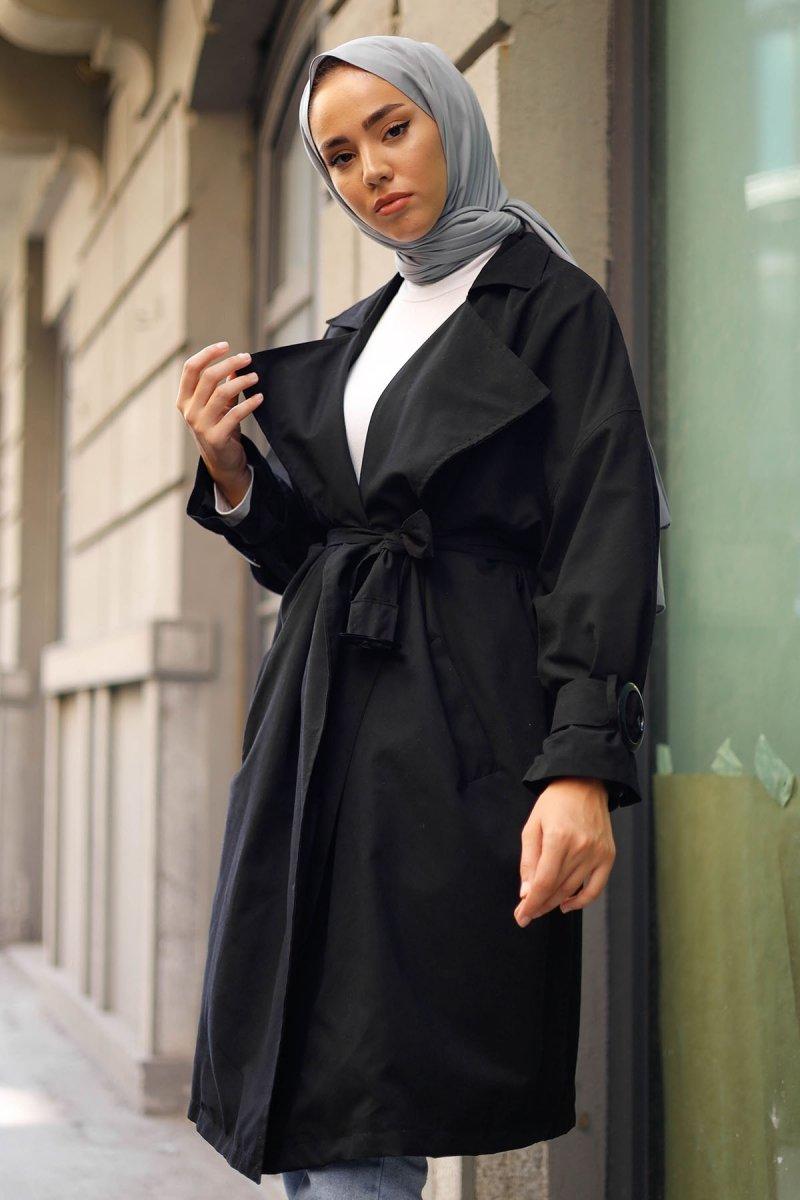 In Style Siyah Kruvaze Halka Detay Salaş Trençkot